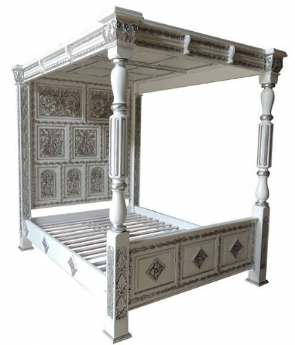 Four Poster Carved Canopy Bed in White and Silver